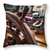 Ships Wheel Throw Pillow by Dale Kincaid