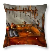 Shoemaker - The Cobblers Shop Throw Pillow by Mike Savad