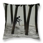 Shooting The Pier Throw Pillow by Karen Wiles