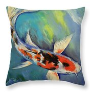 Showa Butterfly Koi Throw Pillow by Michael Creese
