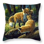 Red Foxes - Sibling Rivalry Throw Pillow by Crista Forest