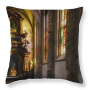 Side Chapel Of St Barbara Throw Pillow by Joan Carroll
