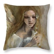 Silence Throw Pillow by Dorina  Costras