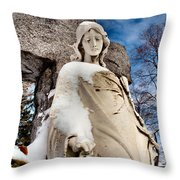 Silent Winter Angel Throw Pillow by Gothicolors Donna Snyder