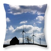 Silhouette Of A Farm And A Tree Throw Pillow by Bernard Jaubert