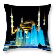 Silhouettes Of Blue Mosque Night View Throw Pillow by Raimond Klavins