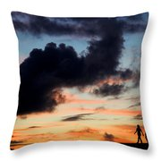 Silhouettes Of Three Girls Walking In The Sunset Throw Pillow by Fabrizio Troiani