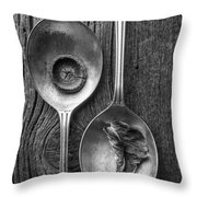 Silver Spoons Black And White Throw Pillow by Edward Fielding