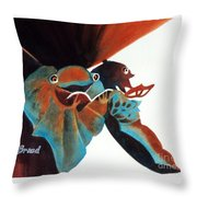 Singing Frog Duet 2 Throw Pillow by Kathy Braud