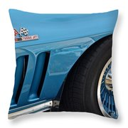 Sixty Six Corvette Roadster Throw Pillow by Frozen in Time Fine Art Photography