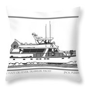 Sixtyfive Foot DeFever Trawler Yacht Throw Pillow by Jack Pumphrey