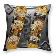 Skateboard Throw Pillow by Mo T