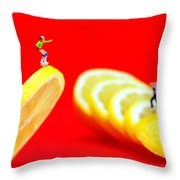 Skateboard Rolling On A Floating Lemon Slice Throw Pillow by Paul Ge