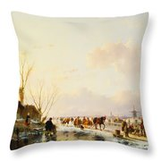 Skaters by a Booth on a Frozen River Throw Pillow by Andreas Schelfhout