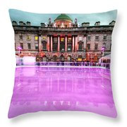 Skating at Somerset House Throw Pillow by Jasna Buncic