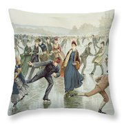 Skating Throw Pillow by Harry Sandham