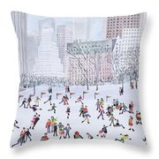 Skating Rink Central Park New York Throw Pillow by Judy Joel