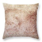 Sketch of a roaring lion Throw Pillow by Leonardo Da Vinci