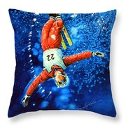 Skier Iphone Case Throw Pillow by Hanne Lore Koehler