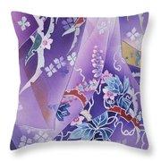 Skiyu Purple Robe Crop Throw Pillow by Haruyo Morita