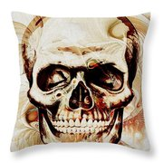Skull Throw Pillow by Anastasiya Malakhova