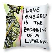 Skull Quoting Oscar Wilde.9 Throw Pillow by Fabrizio Cassetta