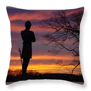 Sky Fire - 124th Ny Infantry Orange Blossoms-1a Sickles Ave Devils Den Sunset Autumn Gettysburg Throw Pillow by Michael Mazaika