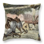 Slaves Irrigating By Water-wheel Throw Pillow by English School