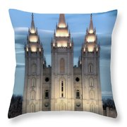 Slc Temple Blue Throw Pillow by La Rae  Roberts