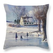 Sledging on a Frozen Pond Throw Pillow by Peder Monsted