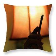 Sleep-texting Throw Pillow by Trish Mistric