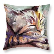Sleeping Kitten Throw Pillow by Olga Shvartsur