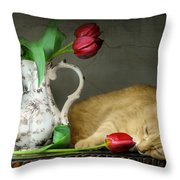 Sleepy Tulips Throw Pillow by Diana Angstadt