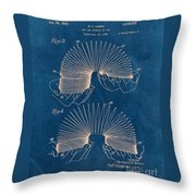 Slinky Toy Blueprint Throw Pillow by Edward Fielding
