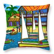 Small Boat Regatta - Cedar Key Throw Pillow by Mike Segal
