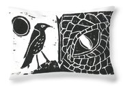 Smaug And The Thrush Throw Pillow by Lynn-Marie Gildersleeve