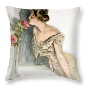 Smelling The Roses Throw Pillow by Harrison Fisher