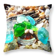 Smiley Face Beach Seaglass Blue Green art prints Throw Pillow by Baslee Troutman