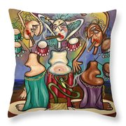 Smoking Belly Dancers Throw Pillow by Anthony Falbo