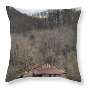 Smoky Mountain Barn 1 Throw Pillow by Douglas Barnett