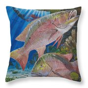 Snapper Spear Throw Pillow by Carey Chen