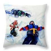 Snow Angels Throw Pillow by Hanne Lore Koehler