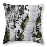 Snow-covered Canyon Walls In Yellowstone National Park Throw Pillow by Bruce Gourley