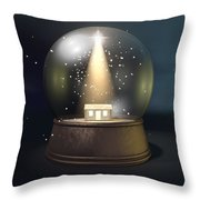 Snow Globe Nativity Scene Night Throw Pillow by Allan Swart