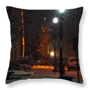 Snow In Downtown Grants Pass - 5th Street Throw Pillow by Mick Anderson