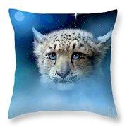 Snow Leopard Cub Throw Pillow by Robert Foster
