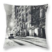 Snow - New York City - Winter Night Throw Pillow by Vivienne Gucwa