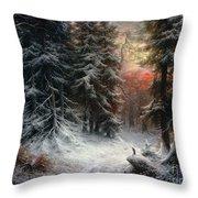 Snow Scene In The Black Forest Throw Pillow by Carl Friedrich Wilhelm Trautschold