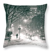 Snow Swirls at Night in New York City Throw Pillow by Vivienne Gucwa