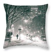 Snow Swirls At Night In New York City Throw Pillow by Vivienne Gucwa
